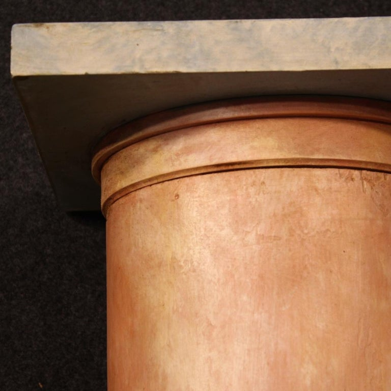 20th Century Lacquered Faux Marble Wood Pair of French Columns, 1960 For Sale 6