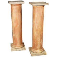 20th Century Lacquered Faux Marble Wood Pair of French Columns, 1960