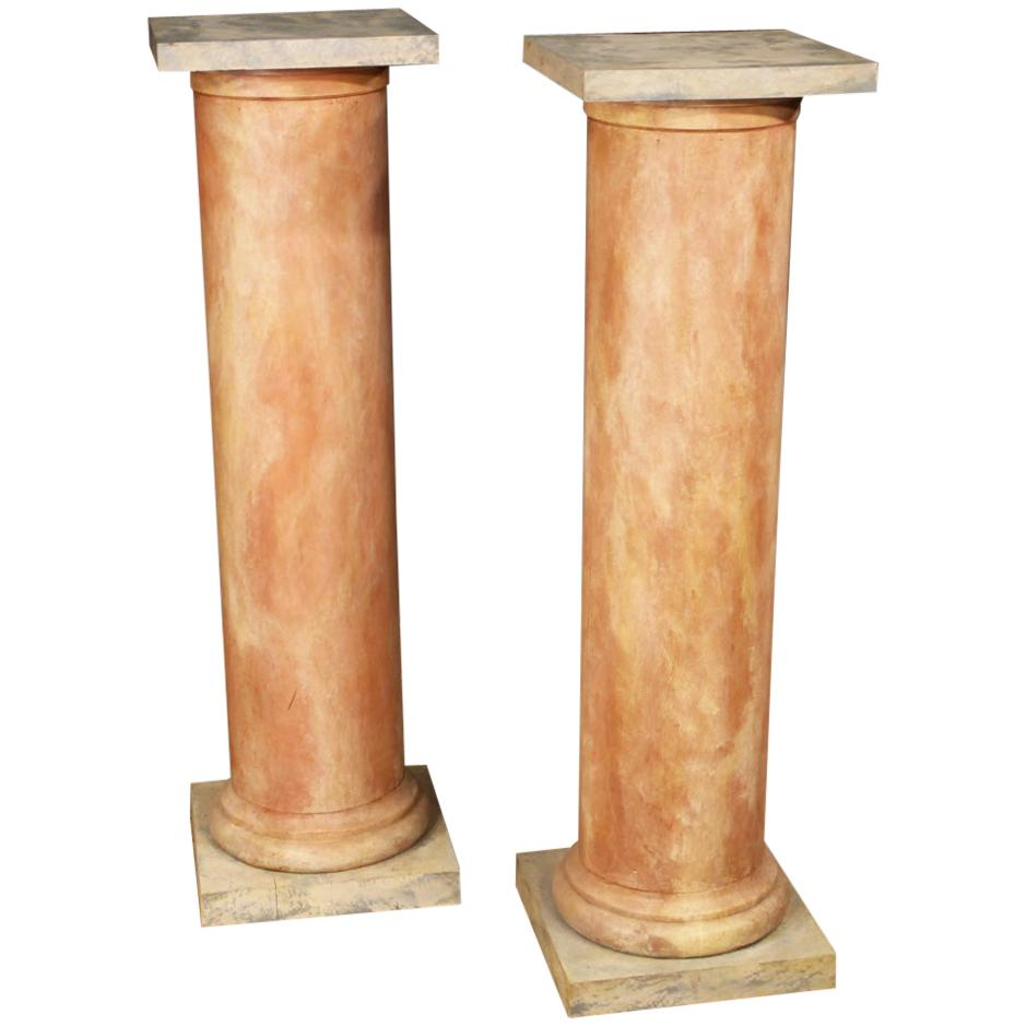 20th Century Lacquered Faux Marble Wood Pair Of French Columns, 1960 For  Sale