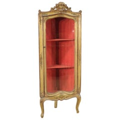 20th Century Lacquered, Gilded, Hand Painted Wood Venetian Corner Cabinet, 1920