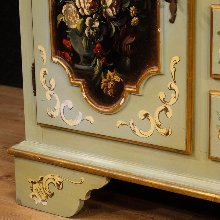 20th Century Lacquered, Gilt and Painted Wood Italian Sideboard, 1960 For Sale 8