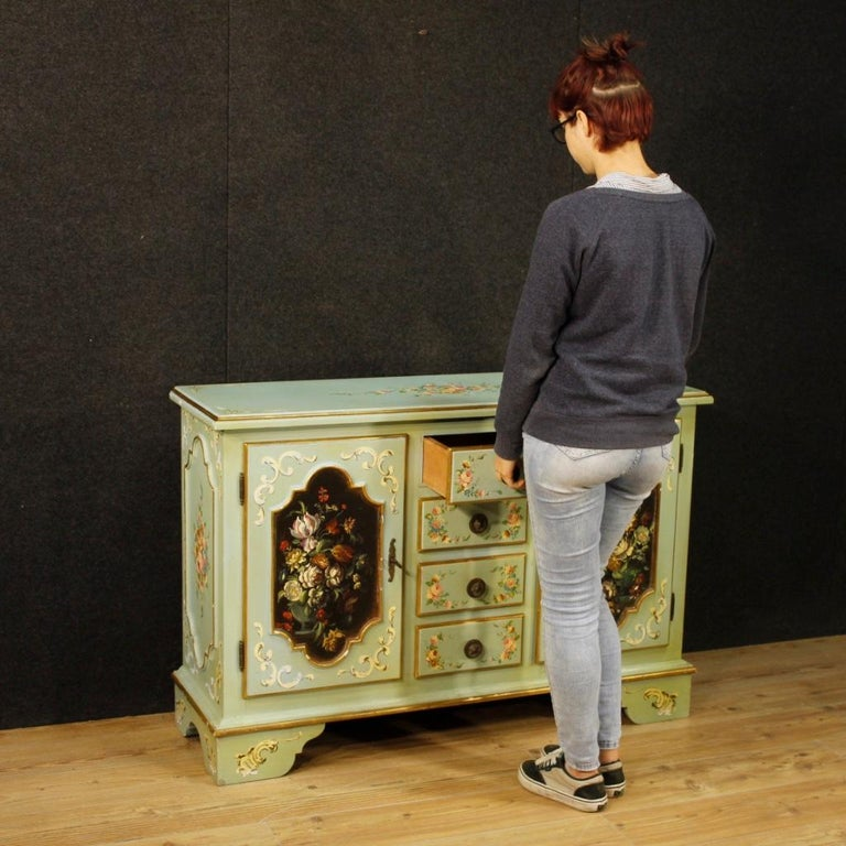 20th Century Lacquered, Gilt and Painted Wood Italian Sideboard, 1960 For Sale 9