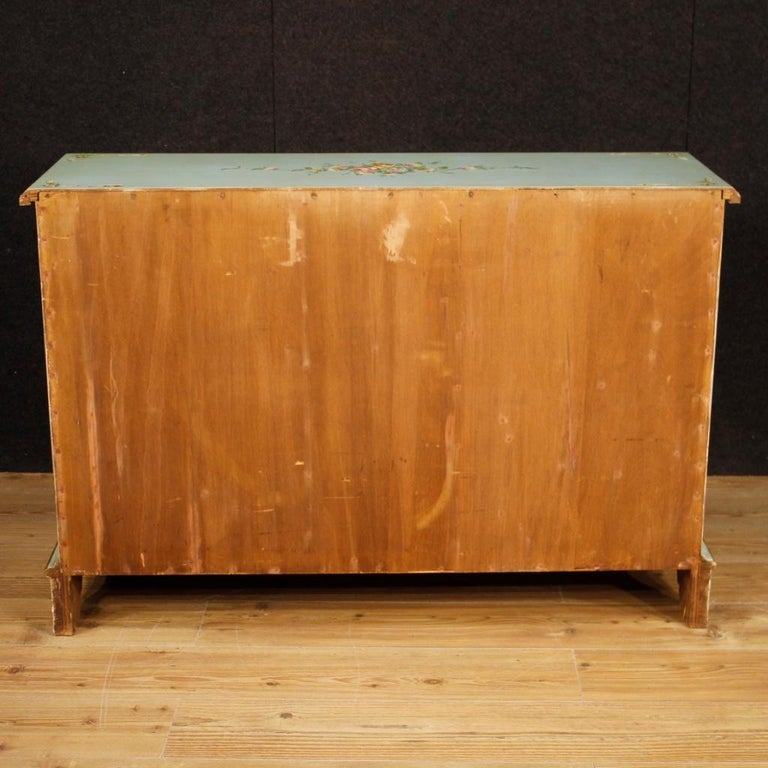 20th Century Lacquered, Gilt and Painted Wood Italian Sideboard, 1960 For Sale 1