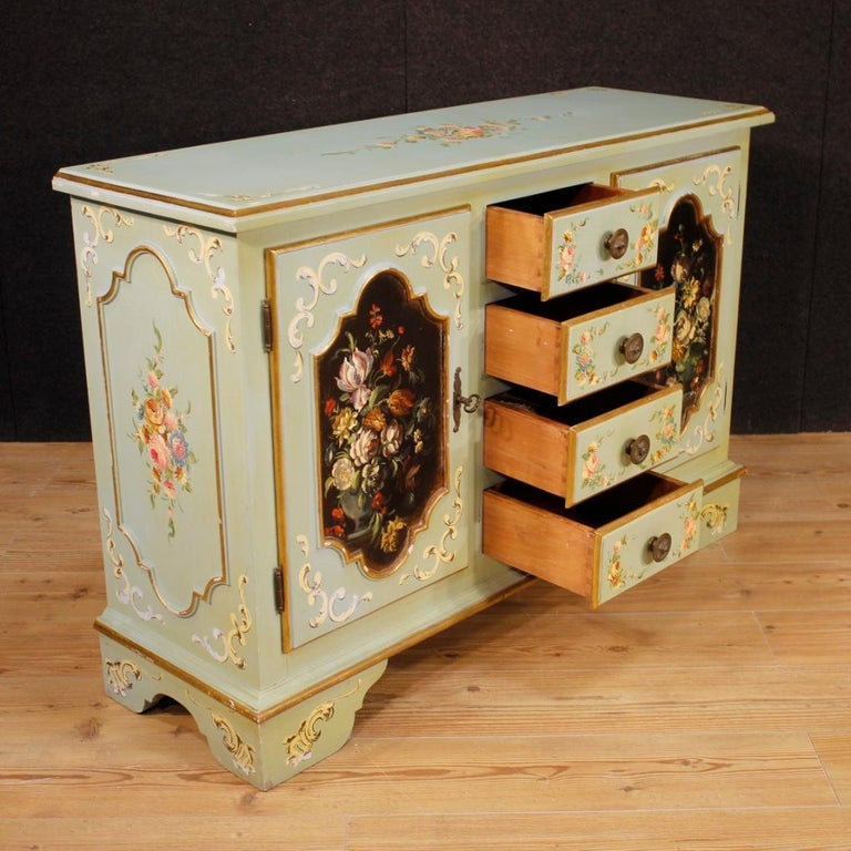 20th Century Lacquered, Gilt and Painted Wood Italian Sideboard, 1960 For Sale 4