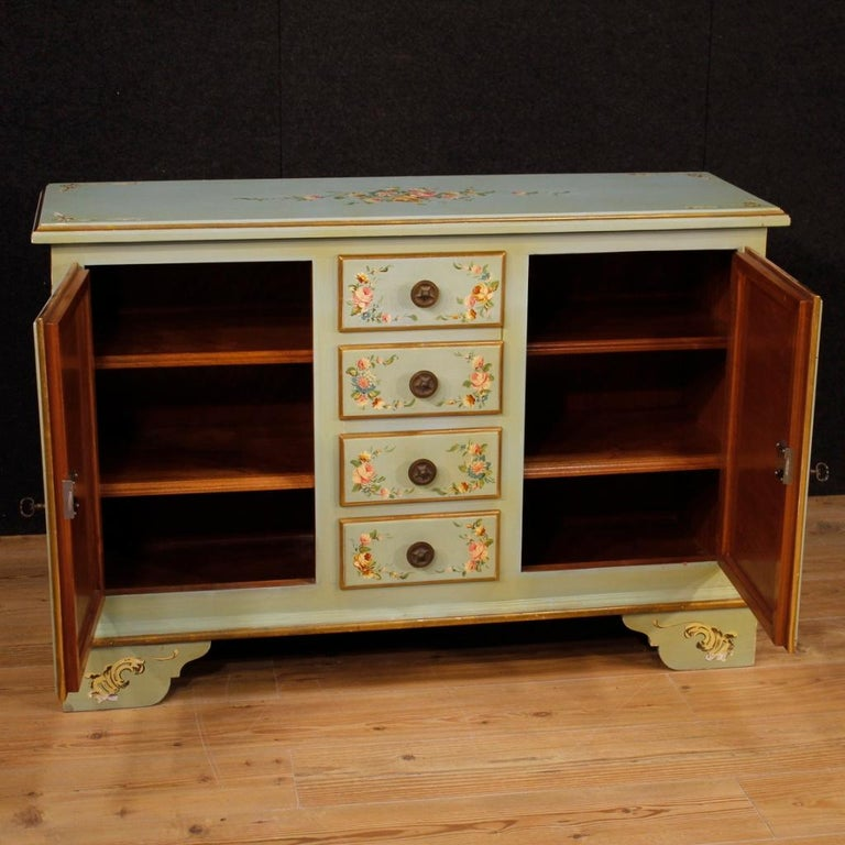 20th Century Lacquered, Gilt and Painted Wood Italian Sideboard, 1960 For Sale 5