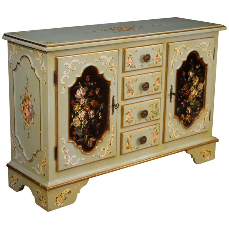 20th Century Lacquered, Gilt and Painted Wood Italian Sideboard, 1960 For Sale