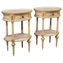 20th Century Lacquered, Gilt, Painted Wood Italian Pair of Bedside Tables, 1960