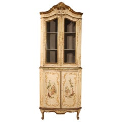 20th Century Lacquered Gilt Painted Wood Venetian Corner Cabinet, 1960
