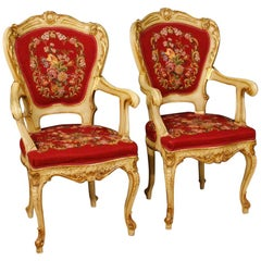 20th Century Lacquered Giltwood, Plaster Red Fabric Venetian Armchairs, 1970
