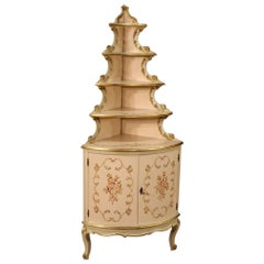 20th Century Lacquered Gold and Painted Wood Venetian Corner Cupboard, 1960