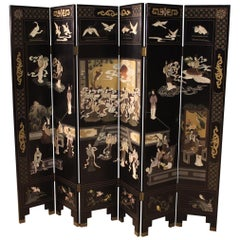 20th Century Lacquered Painted and Gilt Chinoiserie Wood French Screen, 1960