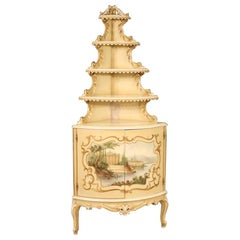 20th Century Lacquered Painted and Giltwood Italian Corner Cupboard, 1960