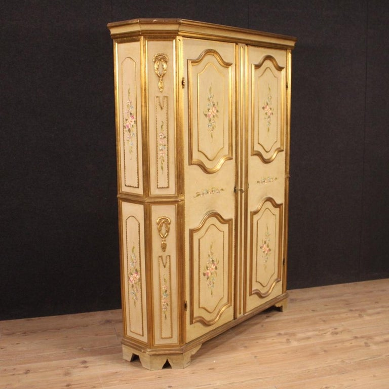 Wood 20th Century Lacquered Painted and Giltwood Italian Wardrobe, 1960 For Sale