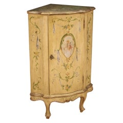 20th Century Lacquered Painted and Giltwood Venetian Corner Cupboard, 1950