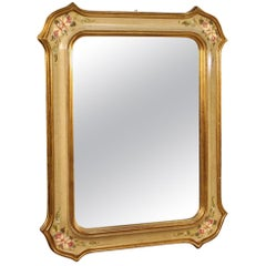 20th Century Lacquered Painted and Giltwood Italian Mirror, 1970