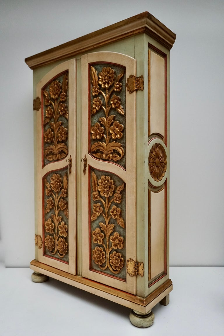 Rococo Revival 20th Century Lacquered Painted and Giltwood Italian Wardrobe, 1960 For Sale