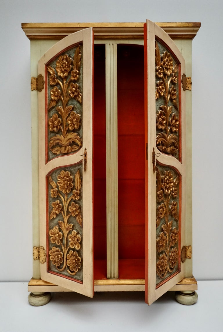 Metal 20th Century Lacquered Painted and Giltwood Italian Wardrobe, 1960 For Sale