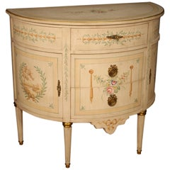 20th Century Lacquered, Painted, Gilt Wood French Louis XVI Demilune Dresser