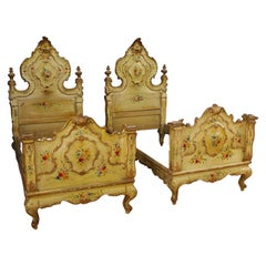 20th Century Lacquered, Painted, Giltwood Venetian Pair of Beds, 1950
