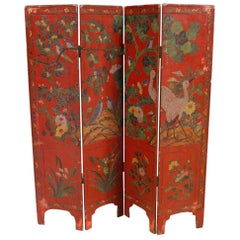 20th Century Lacquered Painted Wood Chinoiserie French Screen, 1960