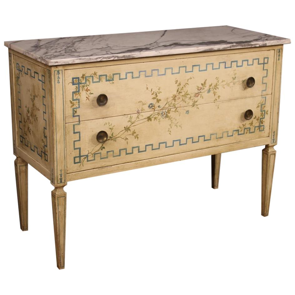 20th Century Lacquered Painted Wood Marble Top Italian Louis XVI Style Dresser