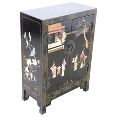 20th Century Lacquered Wood Small Cabinet with Chinoiserie Soapstone Decorations