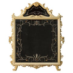 20th Century Lacquered Wood with Floral Decorations Italian Mirror, 1960