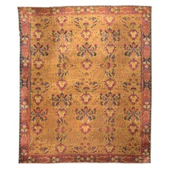 20th Century Lahore Indian Wool Rug, Pink, Green and Yellow Colors, circa 1920