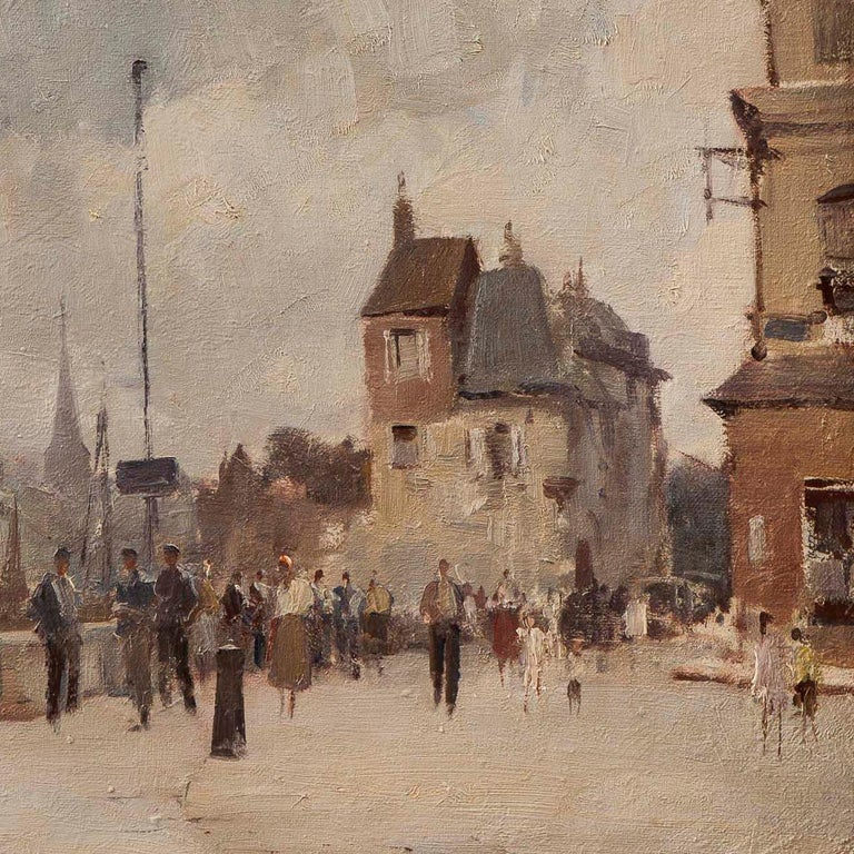 British 20th Century Landscape Painting of 'The Harbour at Hornfleur' Edward Seago For Sale