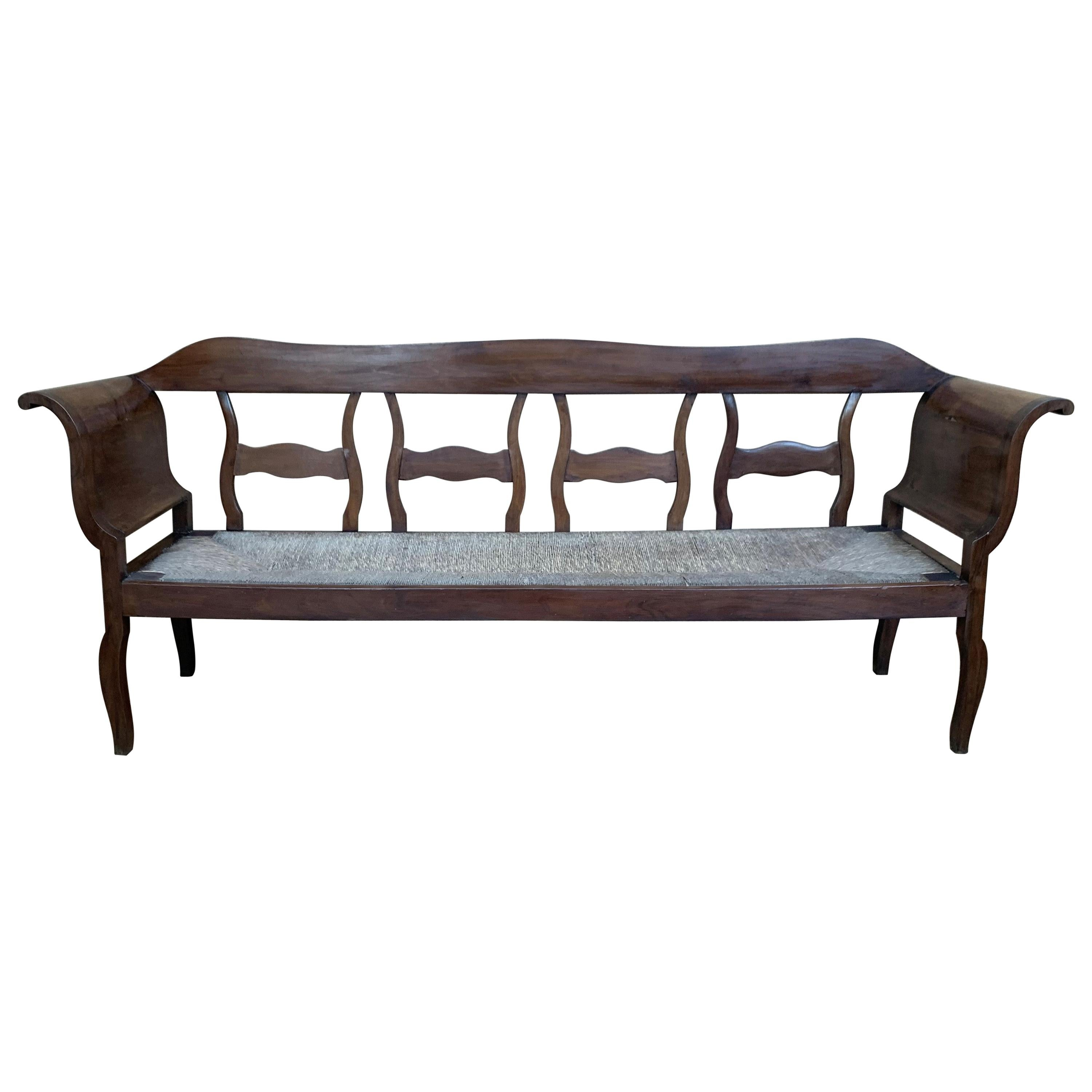 20th Century Large Catalan Bench in Walnut with Caned Seat
