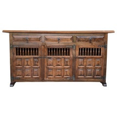 20th Century Large Catalan Spanish Baroque Carved Oak Tuscan Credenza or Buffet