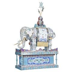 20th Century Large Chinese Cloisonne Enamel Elephant on Stand