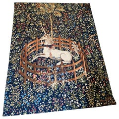 """20th Century Large French Handmade Tapestry Based on """"The Lady and the Unicorn"""""""