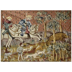 20th Century Large French Vintage Wool Tapestry with Hunting Scene