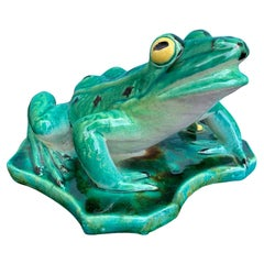 20th Century Large Majolica Green Porcelain Frog
