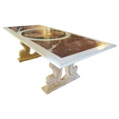 20th Century Large Marble Table with Inlays Decoration