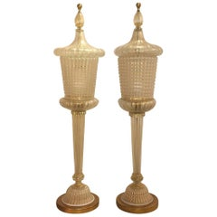 20th Century Large Murano Table Lamps, Italian Lamps by Barovier & Toso