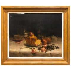 20th Century Large Painting Oil on Canvas by Angelè Trocchi, 1901