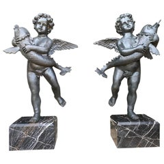 20th Century Large Pair of Bronze Cherub Fountains with Fish