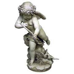 20th Century Large Plaster Cupid Statue