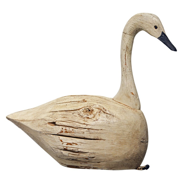 20th Century Large Sculptural Carved and Painted Decoy Swan