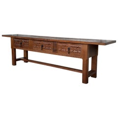 20th Century Large Spanish Baroque Style Carved Walnut Refectory Table