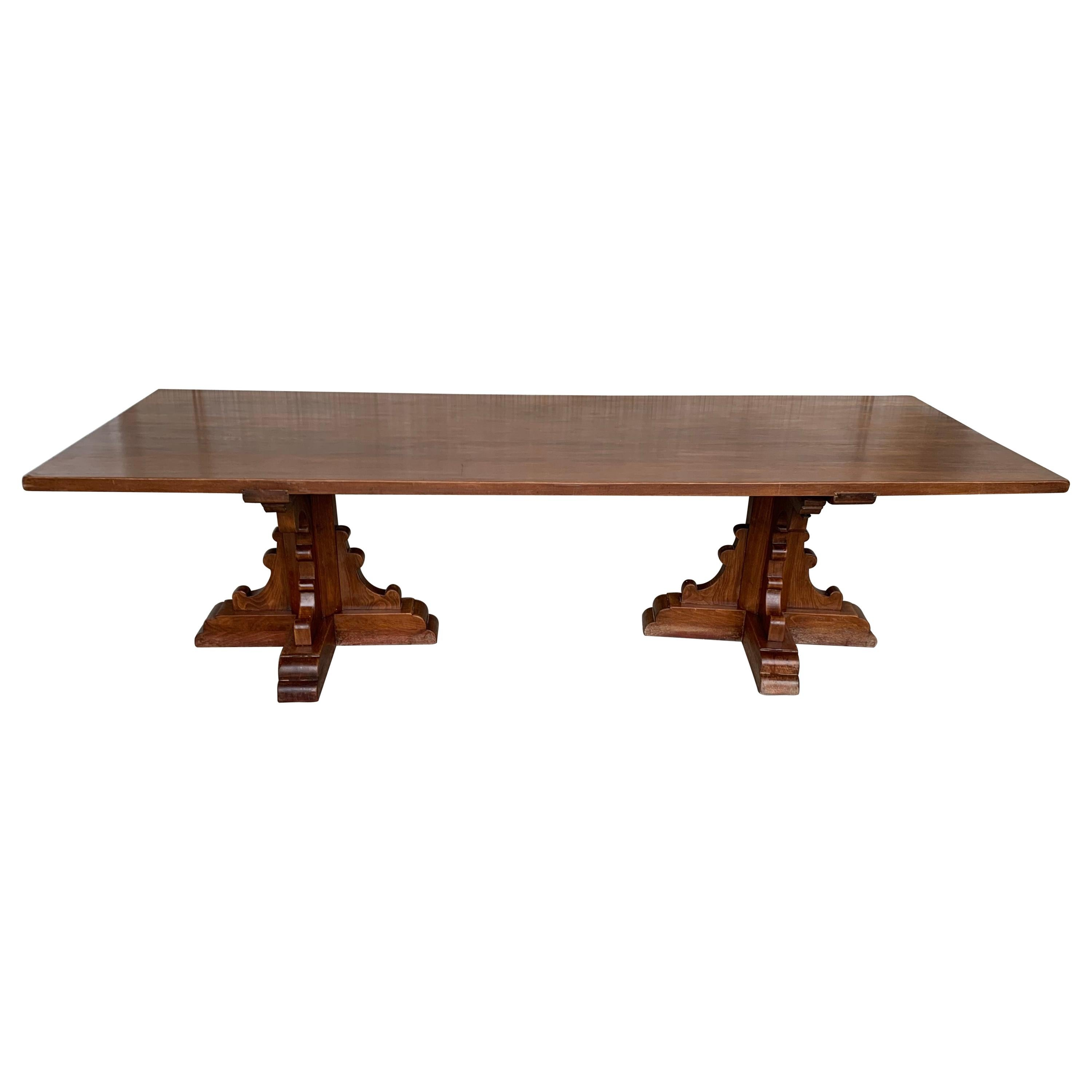 20th Century Large Spanish Walnut Pedestal Dining or Conference Table
