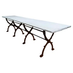 20th Century Large White Carrara Marble Garden Table
