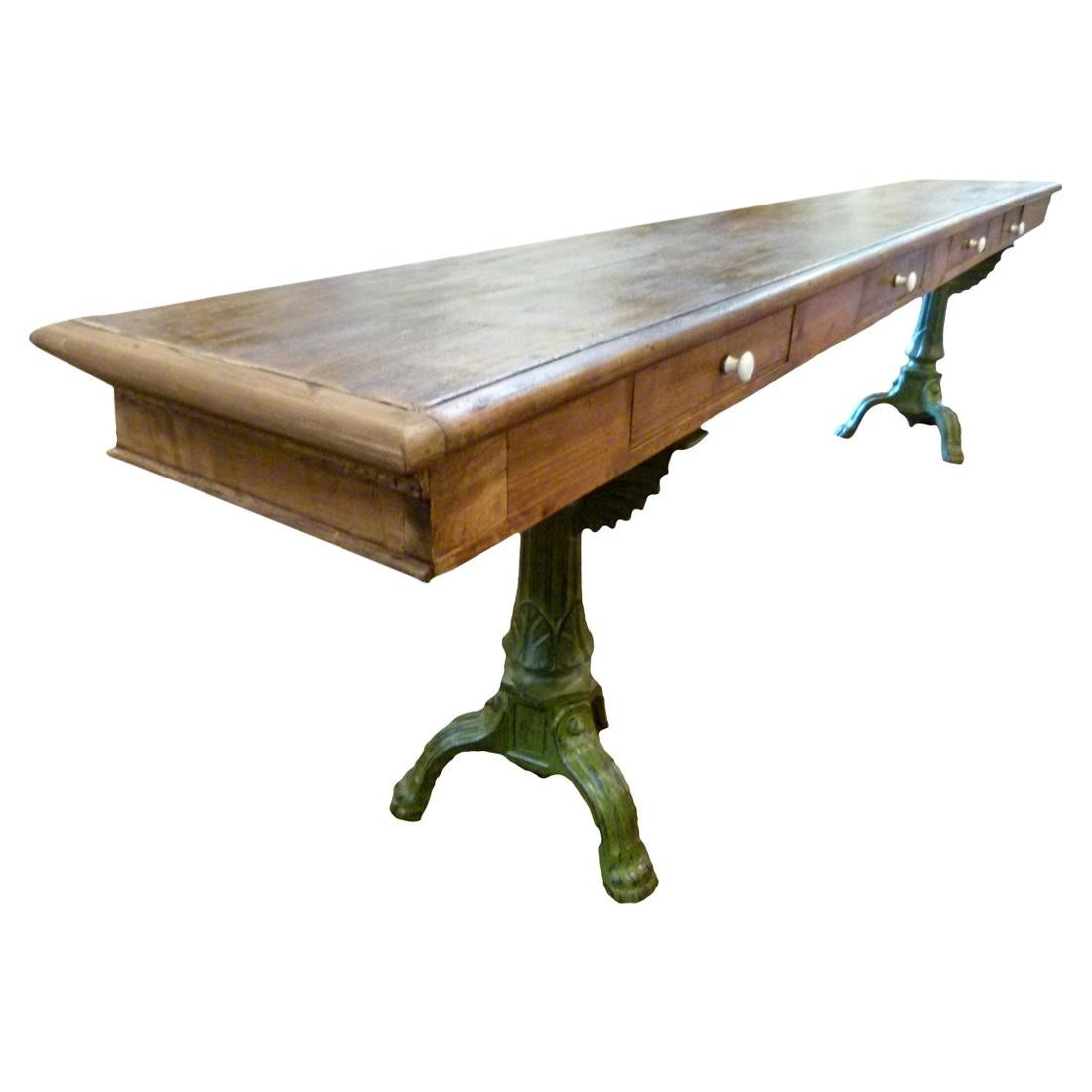 20th Century Large Wooden Work Table