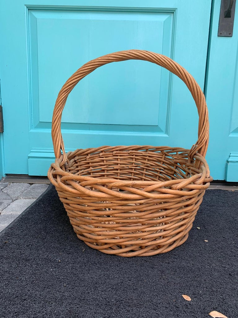 Willow 20th Century Large Woven Basket For Sale