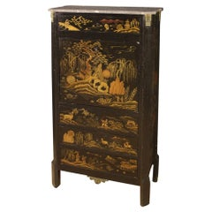 20th Century Lcquered Chinoiserie Wood with Marble Top French Secrétaire, 1920