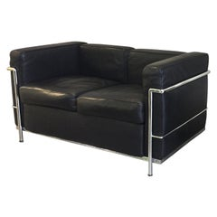 20th Century Le Corbusier Style Black Leather Settee, 2 Available