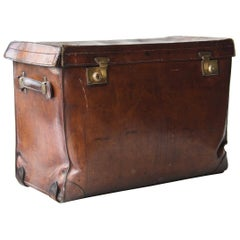 20th Century Leather Bronze English Trunk
