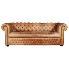 20th Century Leather Chesterfield Sofa with Button Down Seat, circa 1970